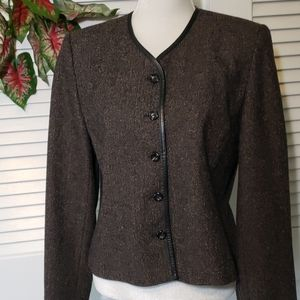 Pendleton Collarless Brown Tweed Blazer 12 EUC